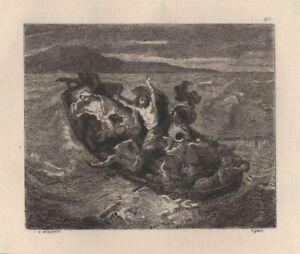 Eugene-Delacroix-La-barque-Eau-Forte-Gustave-Greux-XIXe