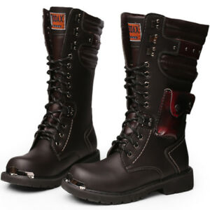 Fashion-Punk-Rock-Buckle-Leather-Motorcycle-Boots-Black-Military-Shoes