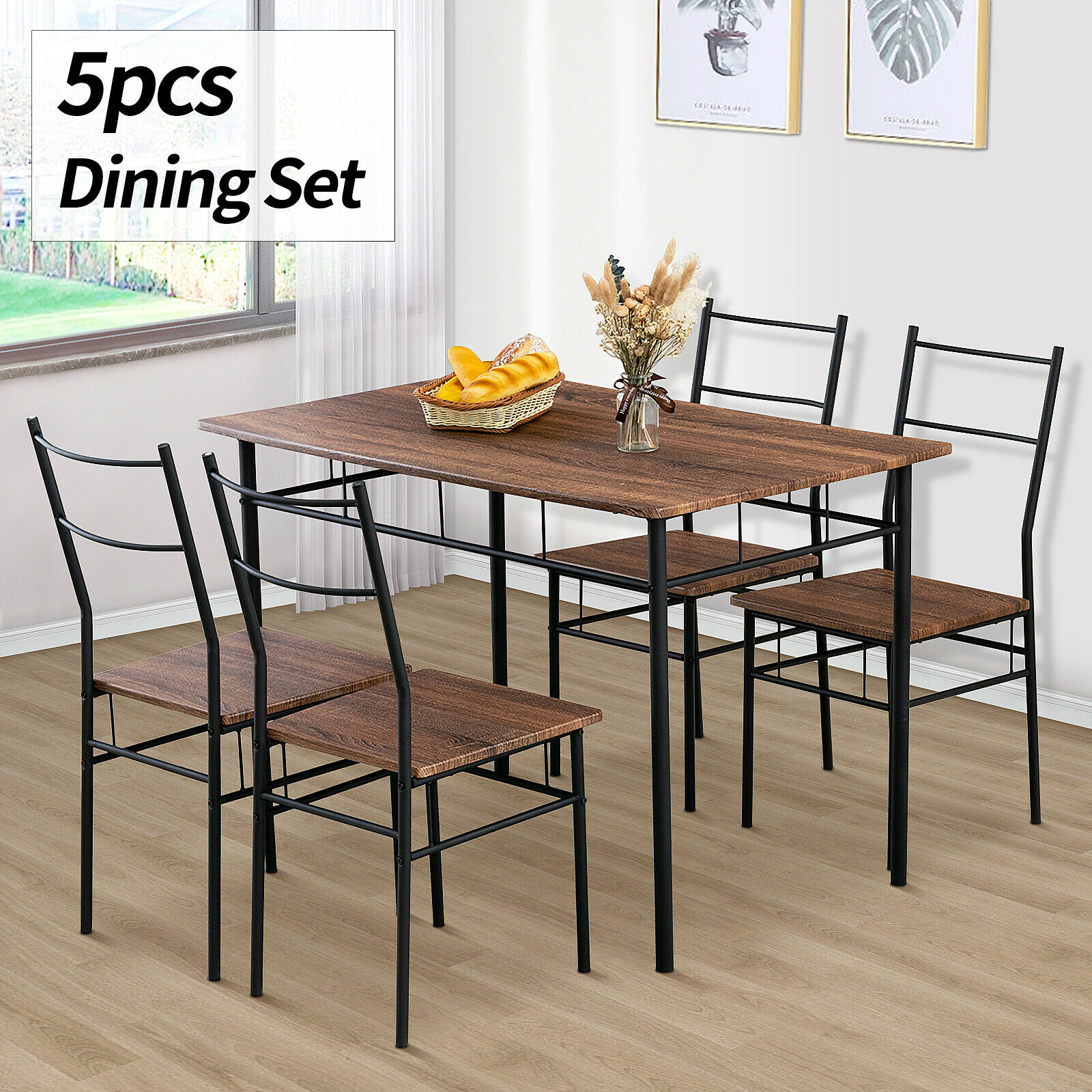 5 Piece Metal Dining Table Furniture Set 4 Chairs Wood Top Dining Room Brown