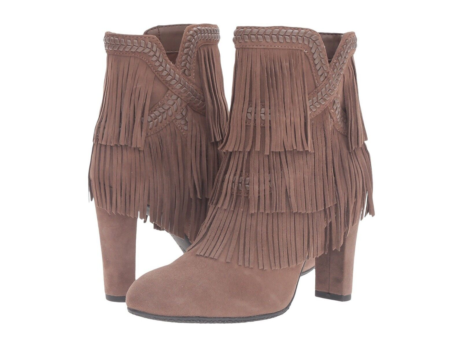 NEW Sam Edelman Kaleb Fringe Suede Ankle Boot, Taupe, Women Size 6.5,