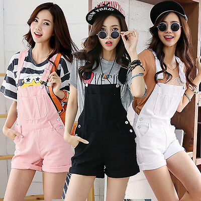 Fashion Casual Women Girls Candy Colors Denim Shorts Jumpsuits Rompers Overall