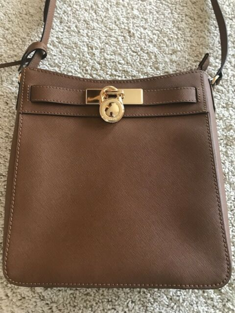 4a7a79b5edeb Michael Kors Hamilton Traveller Crossbody Brown Saffiano Leather Messenger  Bag!