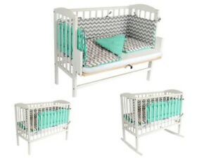 Baby Crib Bedside Cot Bed Co Sleeper Wooden White Mattress