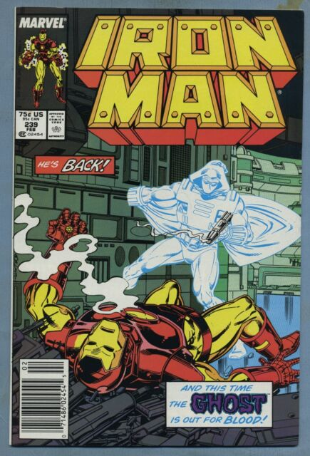 Iron Man #239 (1989) Newsstand [Ghost] Jackson Guice - Marvel j