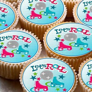 24-Edible-cake-toppers-decorations-Roller-Skates-disco