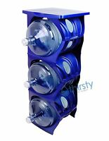 Blue Water Bottle Holder Stand 3 & 5 Gallon Rack 3 Tier Stack Table Counter