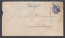 Thurn & Taxis H&G B7 used 1861 6kr blue Envelope, Giessen to Coeln