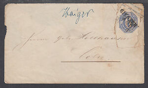 Thurn-amp-Taxis-H-amp-G-B7-used-1861-6kr-blue-Envelope-Giessen-to-Coeln