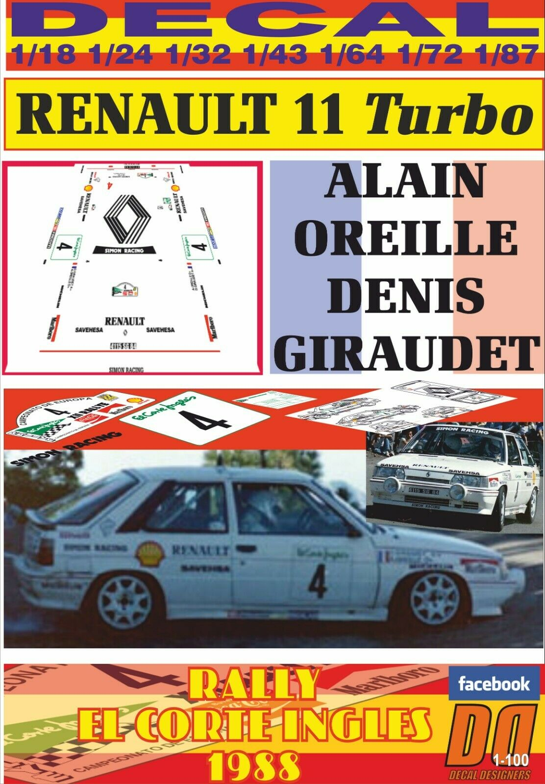 DECAL RENAULT 11 TURBO A. OREILLE R. EL CORTE INGLES 1988 5th (04)
