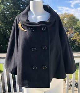 Details About Van Heusen Black Wool Double Breasted Cowl Neck Swing Pea Coat W Pin Sz L