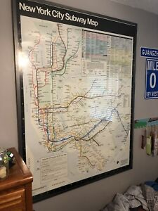 Framed New York Subway Map.Details About 1986 New York City Transit Subway Car Map 61 X41 5 Huge Rare Vintage Framed
