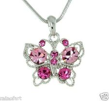 Butterfly W Swarovski Crystal Pink Wings New Pendant Necklace Jewelry Charm