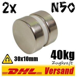 2x-Super-NiCuNi-Neodym-Hochleistungs-Magnet-30x10-mm-D30x10mm-40kg-Zugkraft-N50