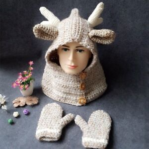 Details about  /Kids Boy Girl Knit Hat Cap Deer Antler Ears Shaped with Gloves Winter Cute Gifts