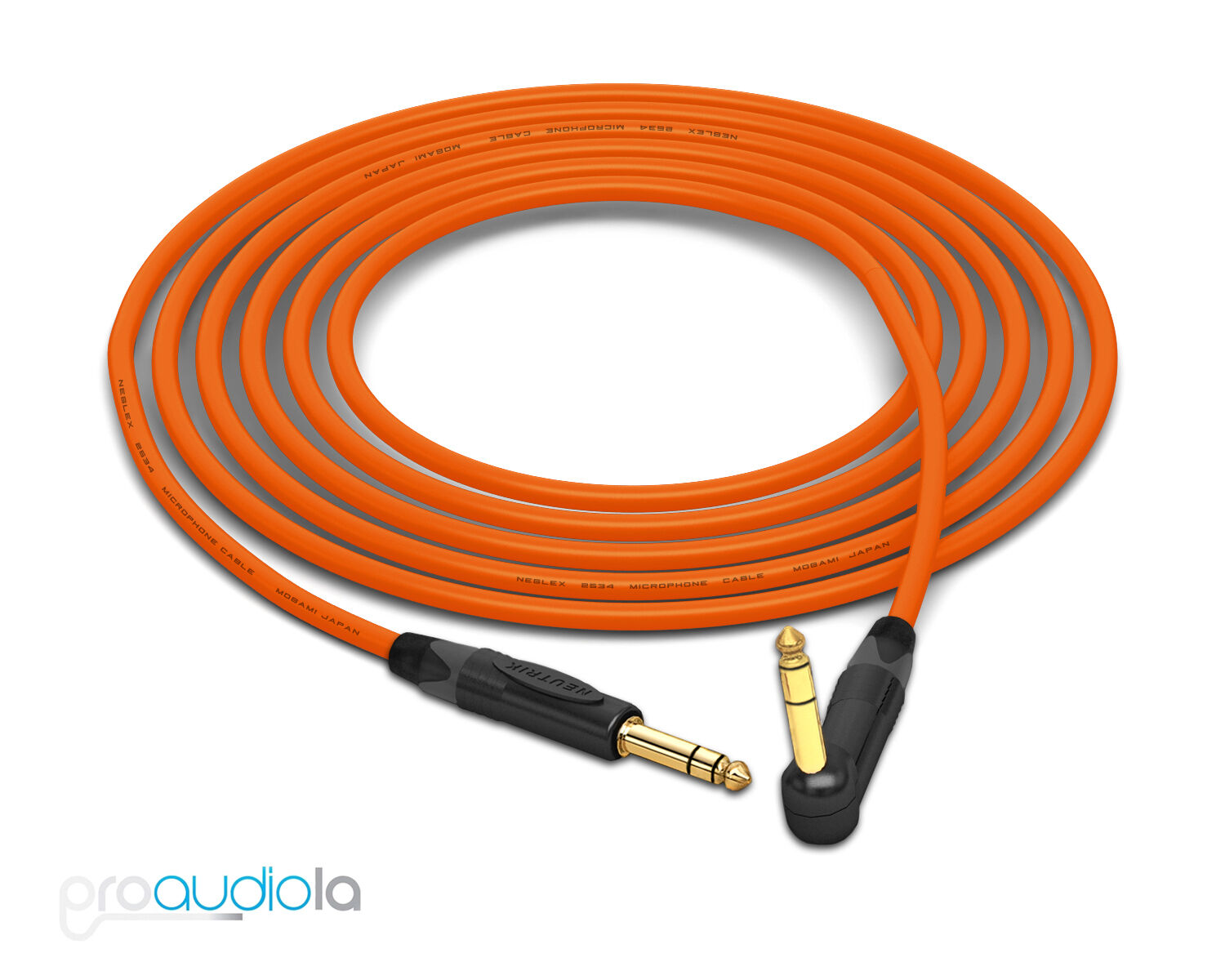 Mogami 2534 Quad Cable   Neutrik gold 1 4  TRS to 90º TRS   orange 25 Feet 25'