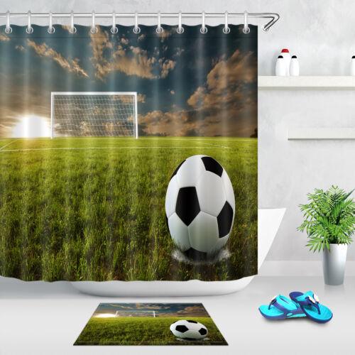 Football Penalty Mark Sunset Bathroom Waterproof Fabric Shower Curtain Set Hooks