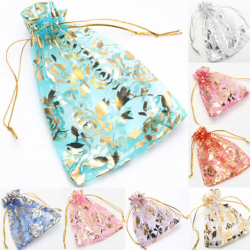 100xORGANZA GIFT BAG Candy Sheer Jewellery Pouch Wedding Birthday Party AGUK