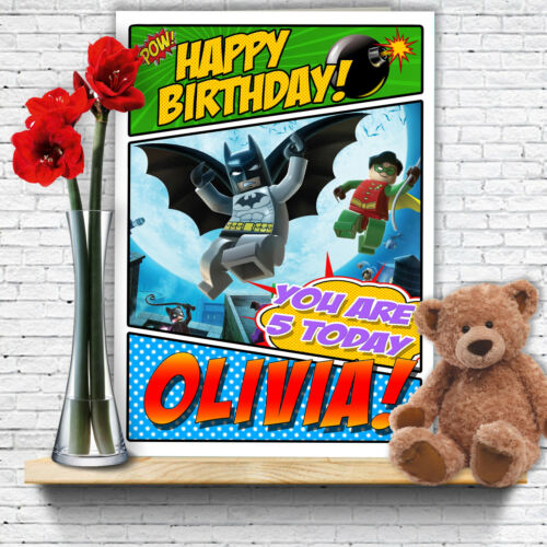 EXTRA LARGE Batman **Personalised A4 Birthday Card** Lego Robin Son Grandson