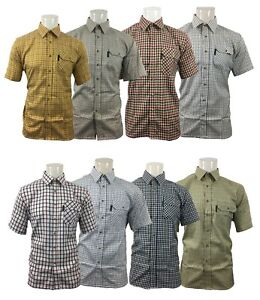 Country-Classics-Short-Sleeved-Quality-Check-Shirts-Poly50-Cotton50-Size-S-5XL