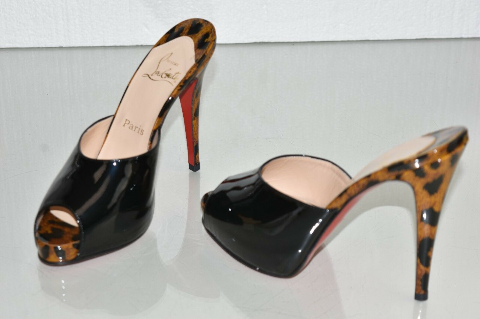 NEW Christian Louboutin SABOTAGE Slides Black Patent Patent Patent Brown Leopard Heel shoes 39 0191be