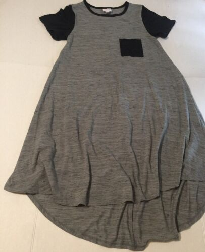 Lularoe Size XS Carly Dress Gray Black Stripe Unic
