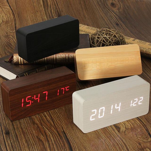 Elektrische Wooden Holz Digital LED Wecker Uhr Alarm Kalender Temperatur DC 5V