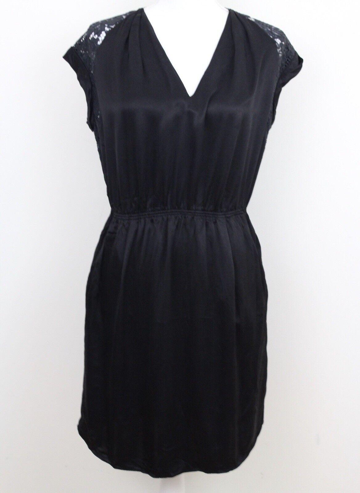 Rebecca Taylor schwarz Vneck Shift Dress Floral Lace Short Sleeve damen Größe 4