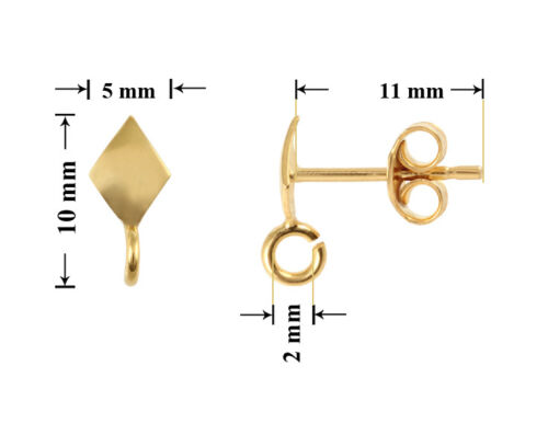 Sterling Silver Gold Plated Rhombus Earrings Stud Posts with Open Ring 10x5mm