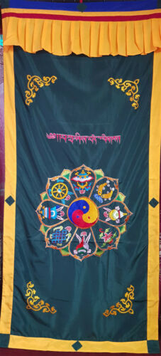 Ying Yang sign with Tibetan Astamangal Symbol Embroidery Buddhist  Door Curtain