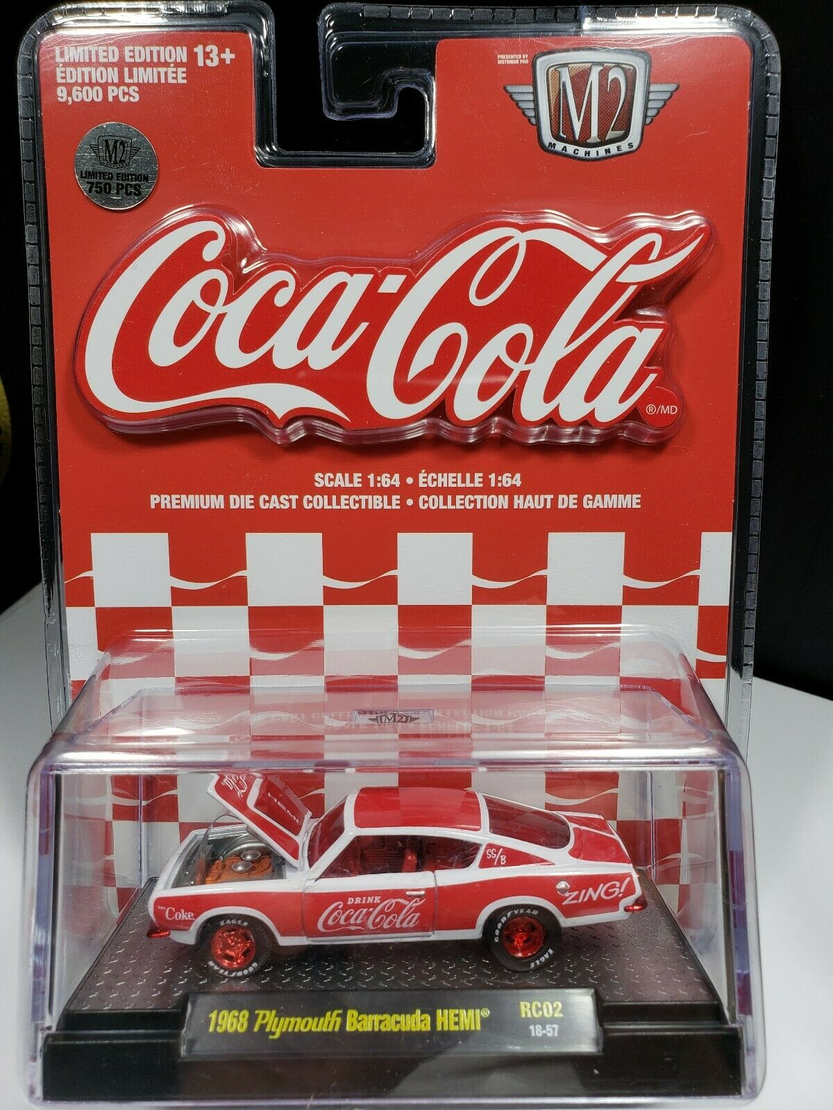 2019 M2 COCA COLA CHASE 1 OF 750 1968 PLYMOUTH BARRACUDA HEMI 1 64 SCALE - J1