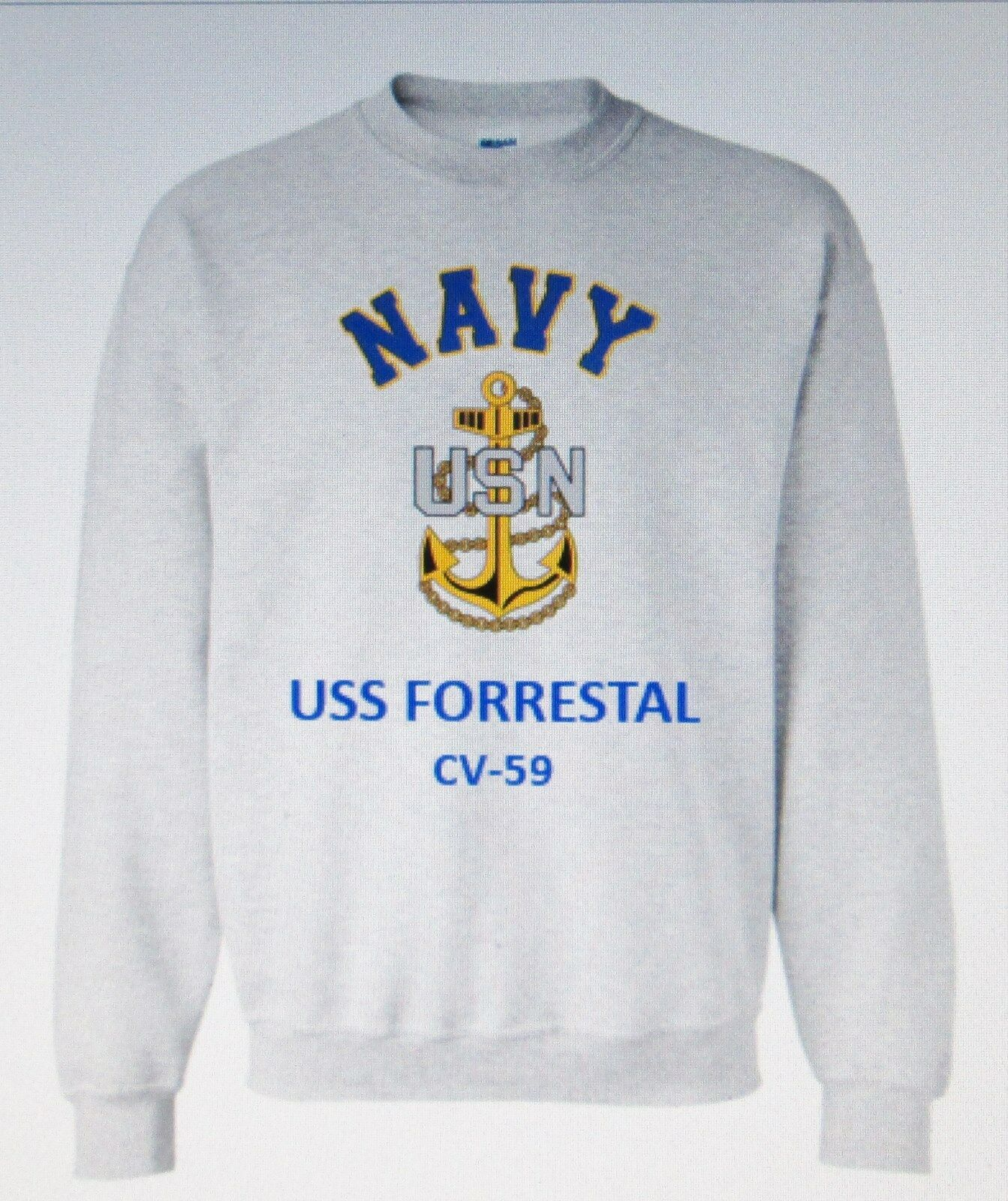 USS FORRESTAL  CV-59 AIRCRAFT CARRIER NAVY ANCHOR EMBLEM SWEATSHIRT