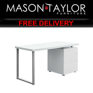 Mason Taylor Office Study Computer Metal Desk with 3 Drawers DESK-140M-WH-AB