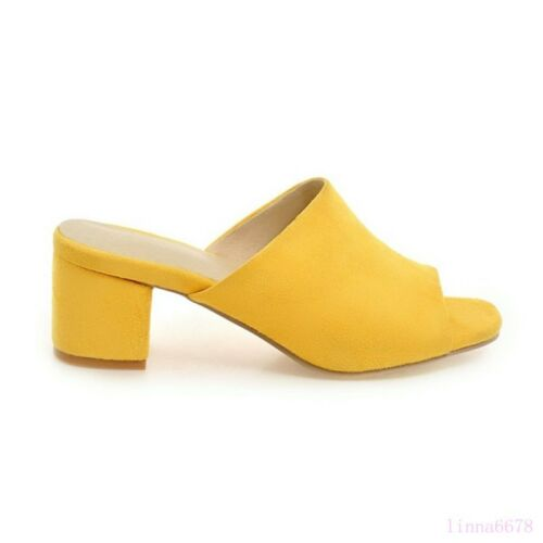 Spring Women/'s Mid Block Heel Shoes Sandals Mules Slip On Open Toe Casual Suede