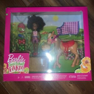 Mattel Barbie Sweet Orchard Farm Chelsea African American Doll & Pony Horse New