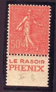 TIMBRE-PUB-RASOIR-PHENIX-50-c-semeuse-N-199-carnet-TTB