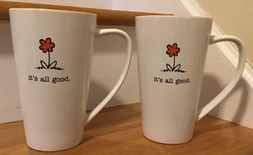 10 Strawberry Street Its All Good Coffee Tall Cup Mug Orange Flower 7