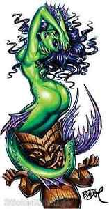 Green-Siren-Sticker-Decal-Artist-Big-Toe-Mermaid-With-Tiki-BT51