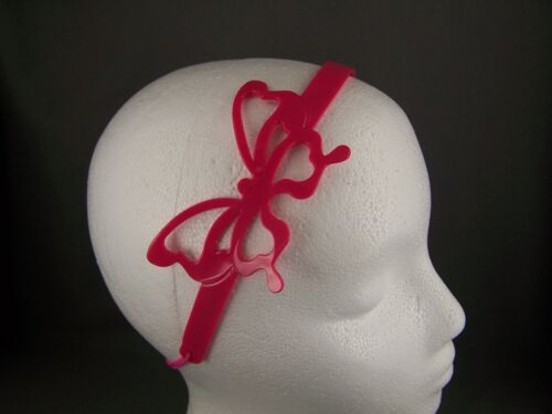 """Pink butterfly 1//2/"""" wide jelly headband soft stretch hair band accessory teeth"""