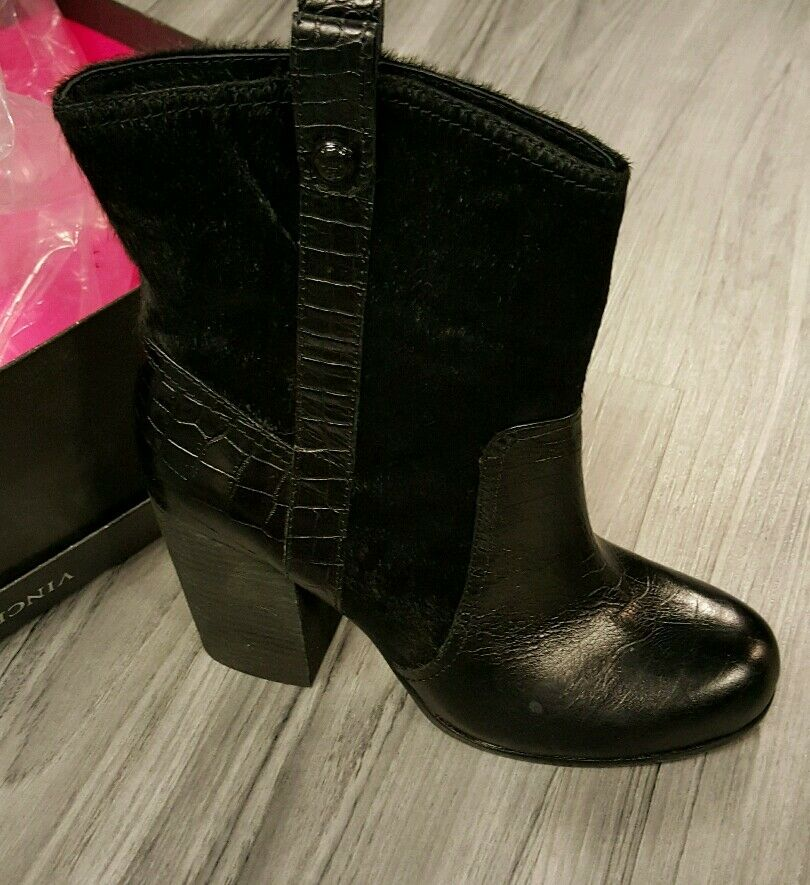 New Women's Vince Camuto Black Leather Boots Size 8.5