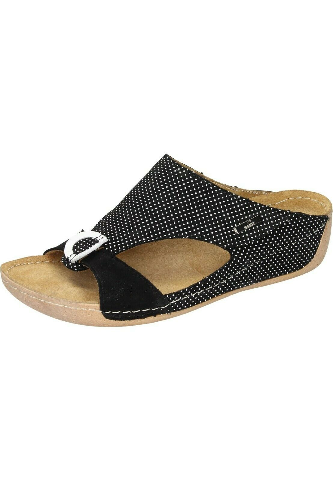 Arbeitsschuhe Pantolette Sandale Schlappen Klett SANITA Leder Weiß Gr 38 NEU
