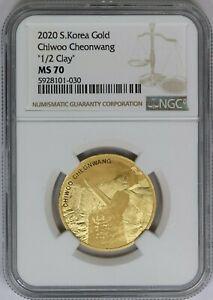 "2020 NGC Komsco South Korea 1/2oz 999 Gold Chiwoo Cheonwang ""1/2 Clay"" MS70"