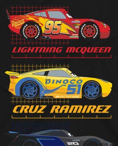 Disney Pixar Cars Top Three Racers Children/'s Unisex Black T-Shirt