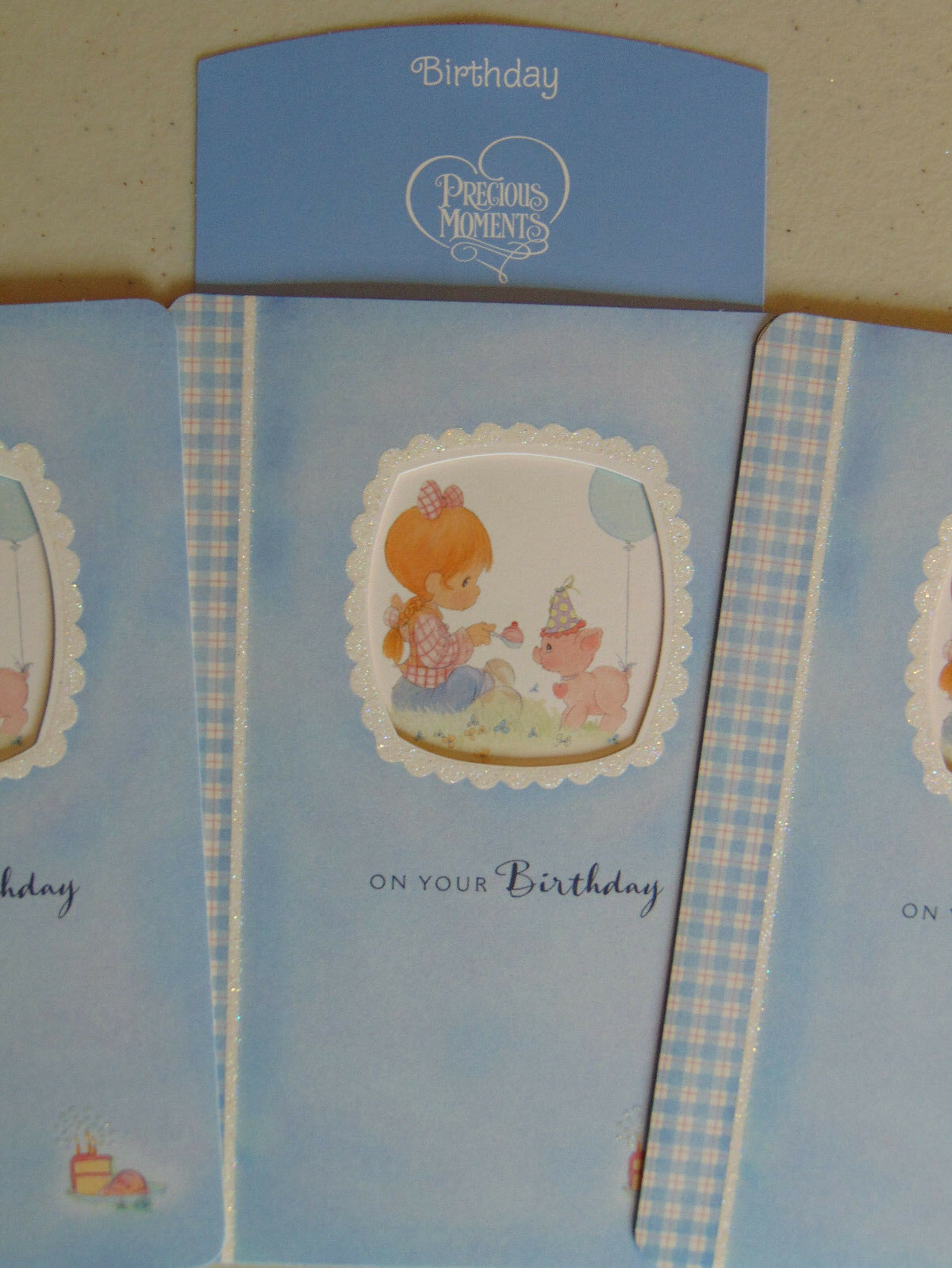 3 Precious Moments BIRTHDAY Greeting Cards, Christian Bible Scripture Verse  for sale online