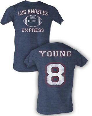 Men's Clothing Steve Young #8 Usfl Los Angeles Express Men's Tee Shirt Navy Sizes S-5xl High Standard In Quality And Hygiene
