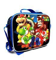 Nintendo Super Mario Boys & Girls Canvas Black & Blue Insulated Lunch Bag
