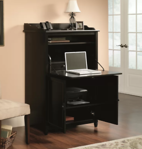 Hidden Office Desk Computer Armoire Black Cabinet Laptop ...