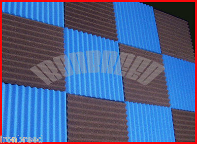 """(96 PACK) 1"""" x 12 x 12 Wedge BLUE/CHARCOAL Acoustic Soundproofing Studio Foam"""