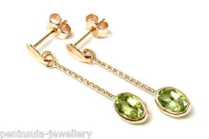 9ct-Gold-Peridot-Oval-long-drop-earrings-Made-in-UK-Gift-Boxed