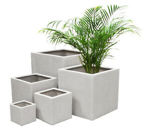 White polystone terrazzo cube planter patio plant flower pot garden image is loading white polystone terrazzo cube planter patio plant flower mightylinksfo