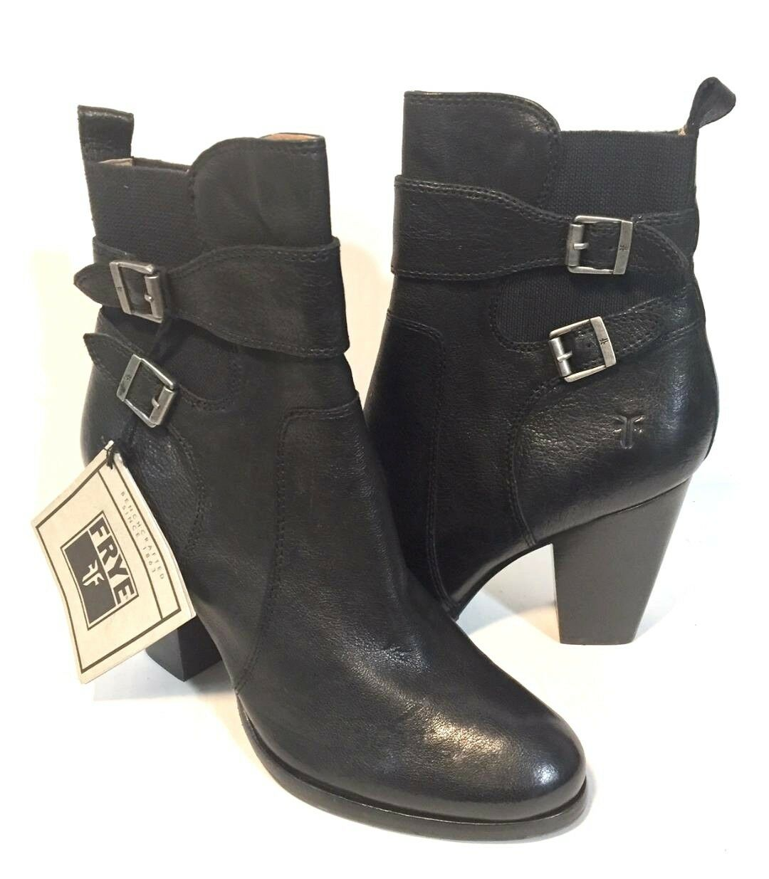 economico e di alta qualità NWT  348 FRYE FRYE FRYE PATTY GORE MID-CALF  nero LEATHER DUAL BUCKLE ZIPPER stivali- 9.5  in linea